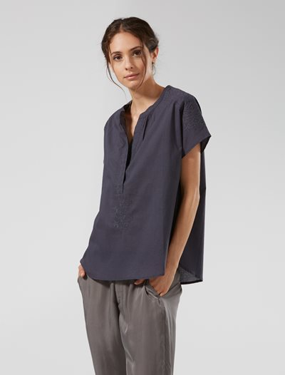 Charcoal V-Neck Embroidered Top