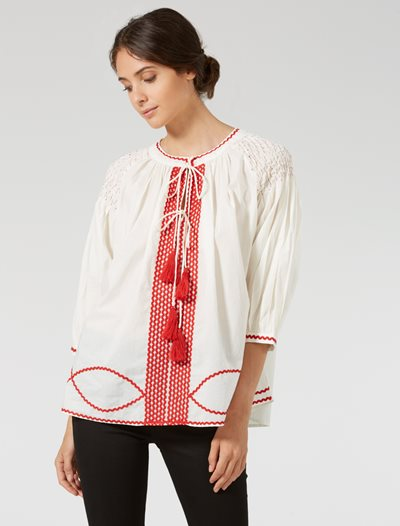 Ines Blouse - White/Red