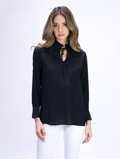 Ruffle Collar Shirt - Black
