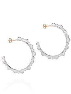 Silver Scalloped Hoops