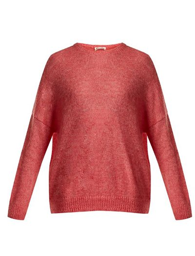 Dropped Shoulder Mohair Blend Sweater - Rose