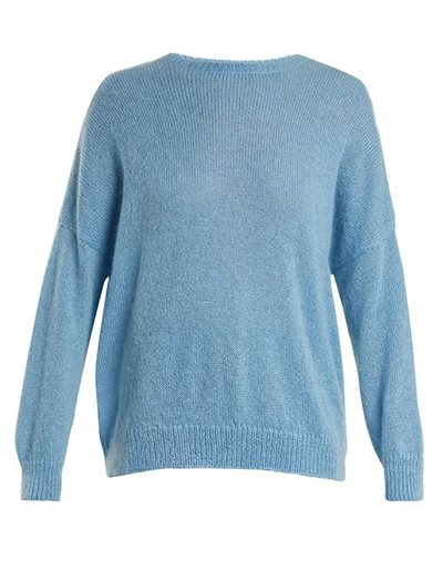 Dropped Shoulder Mohair Blend Sweater- Sky Blue