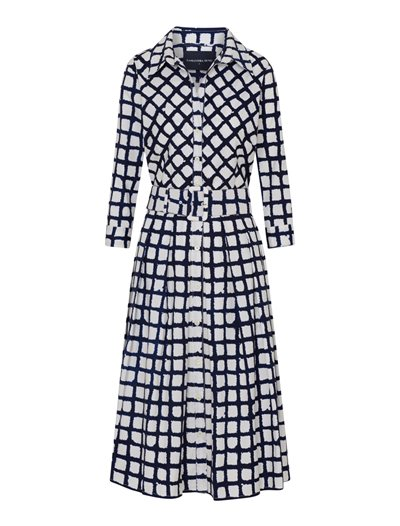 Audrey - Checked Shibori, White Indigo