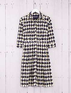 Audrey Dress - British Houndstooth - Indigo