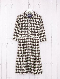 Audrey Dress - British Houndstooth - Sepia