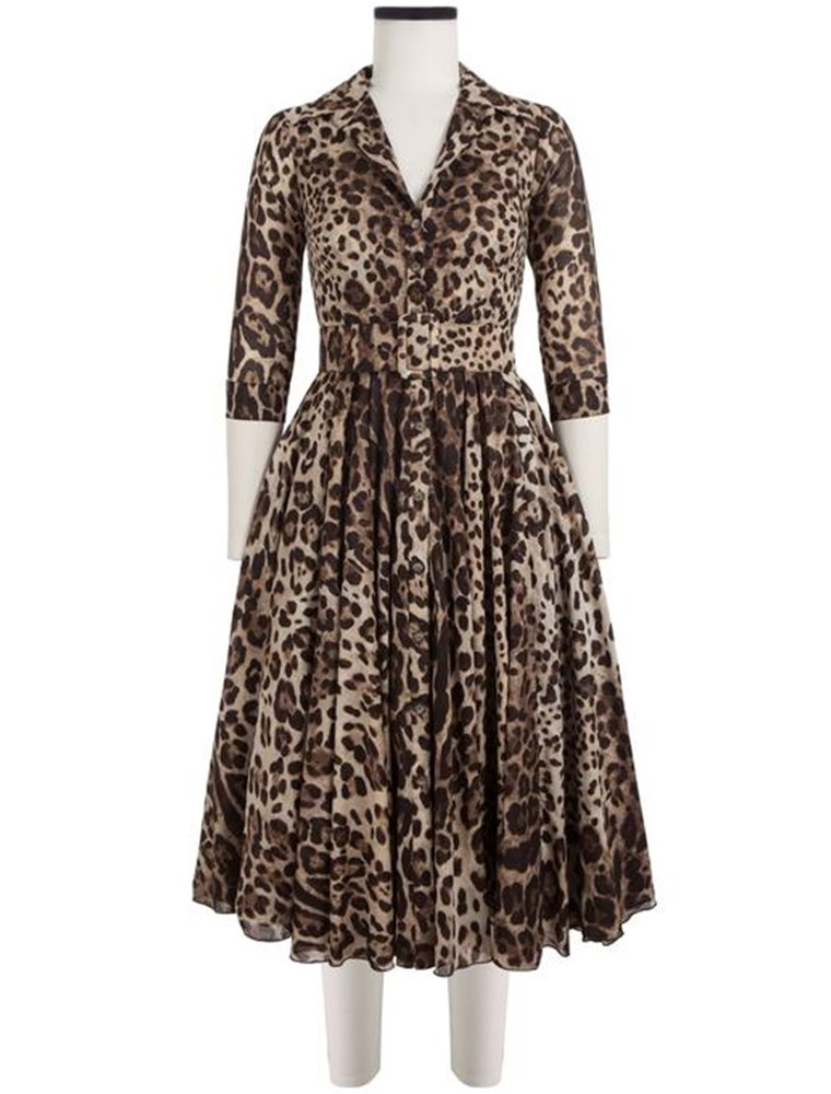 Audrey Dress, Cotton Musola, Safari Leopard - Beige Sepia Image