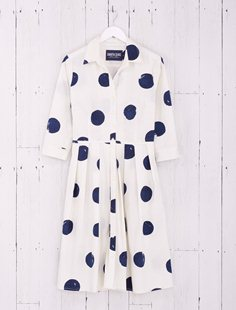 Audrey Dress - Embossing Dots - Indigo