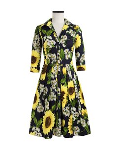 a294961e1b24 Samantha Sung Audrey Dress, Oceana Sunflower, Indigo - KJs Laundry