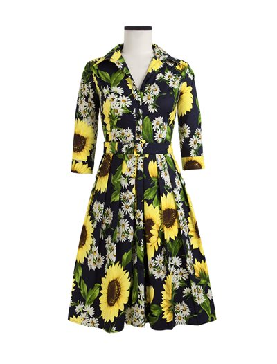 Audrey Dress, Oceana Sunflower, Indigo