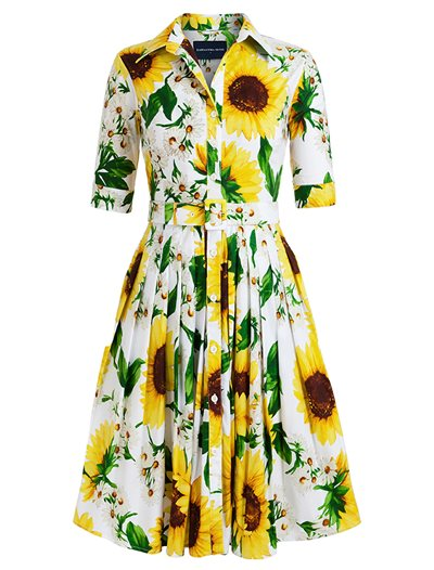 Audrey Dress, Oceana Sunflower, White