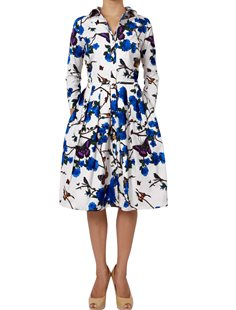 Audrey Dress - Rose Butterfly White Indigo