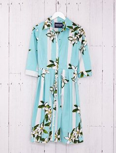 Audrey Dress - Ti Flower - Soft Aqua