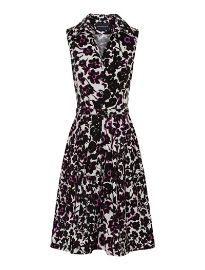 Claire Dress - Leopard Flowers, White Pink