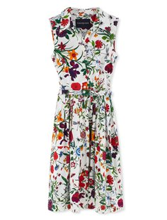 Claire Dress - Sleeveless - Botanical Garden Whalte Red