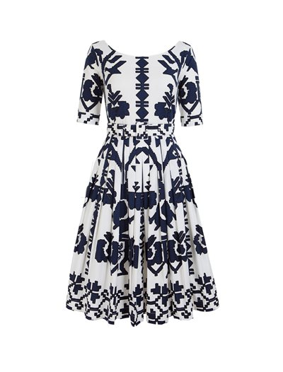 Florence Dress, Kos-Embroldery, Indigo