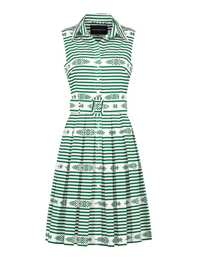 Kelly Dress - Santorini Stripe - Green