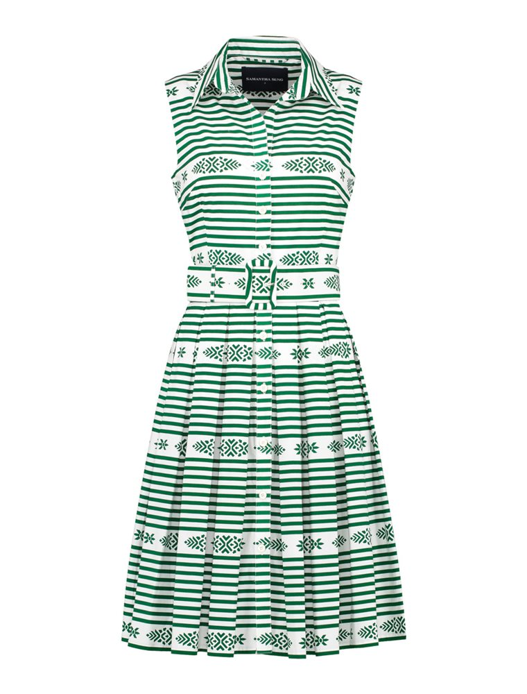 Kelly Dress - Santorini Stripe - Green Image