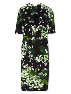 Laudine Dress short sleeve - White Blossom - Black