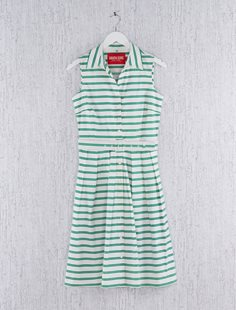 Sleeveless Audrey Dress - Deco Stripe Green