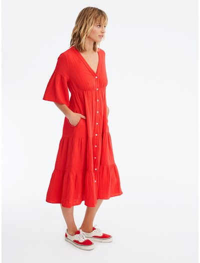 Kendall Dress - Sun Red