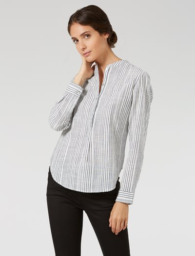 Celeste Shirt - White/Blue Stripe