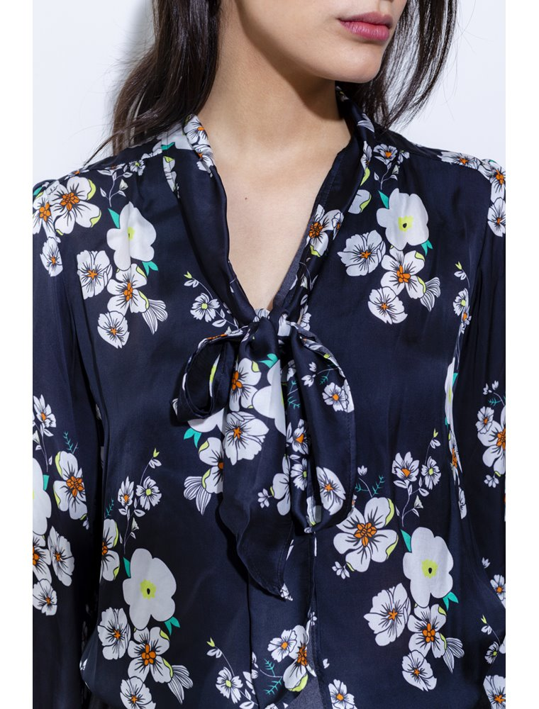 Kitty  Blouse - Black Floral Image