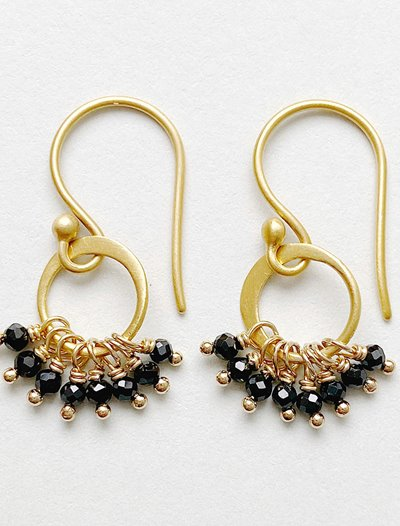 Cluster Earrings - Black Spinel