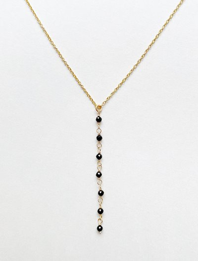 Lariat Necklace - Black Spinel