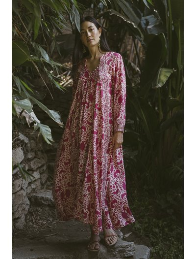 Fiore Maxi Dress - Wing Print - Bougainvillea