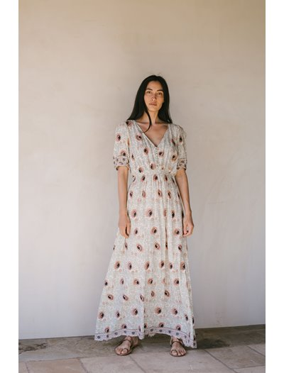 Laurie Dress - Vintage Apricot Flowers