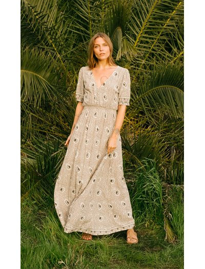 Laurie Dress - Vintage Flowers Silver