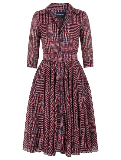 Aster Dress - Balenciaga Check - Scarlet/Indigo  - Musola