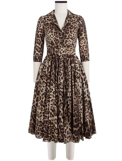 Audrey Dress, Cotton Musola, Safari Leopard - Beige Sepia