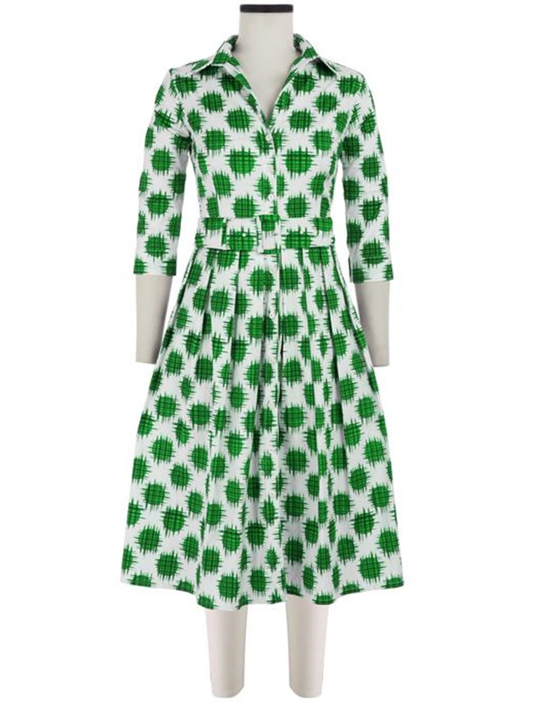 Audrey Dress #2, Cotton Stretch Ikat Dots - Pine Green Image