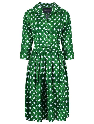 Audrey Dress - Noodle Check, Grass Green