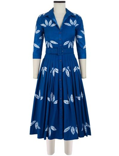 Midi Audrey Dress, Cotton Stretch Bamboo Shibori Cobalt Blue