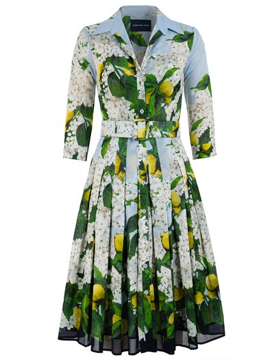 Midi Audrey Dress -  Lemon Tree Blossom - Musola Cotton