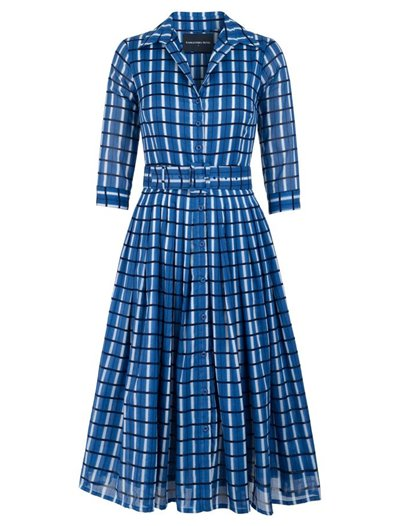 Midi Audrey Dress, Musola Cotton - Roman Check Blue