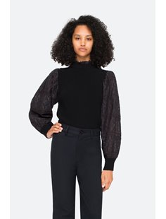 Iris Cotton Eyelet Sweater - Black Image