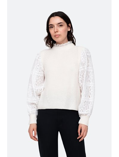 Iris Cotton Eyelet Sweater - Cream
