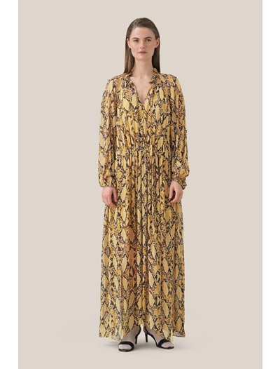 Snake LS Maxi Dress - Chia Tea